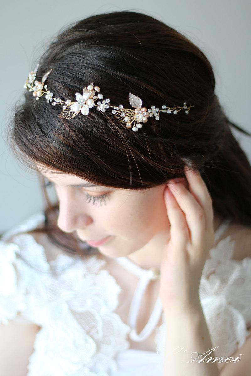 Golden Tiara Circlet Bridal Wedding Crown Made With Small Flowers