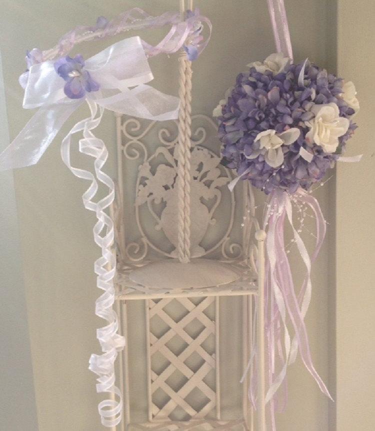 زفاف - SET; White & Lavendar Purple Flower Girl Lace Floral Tiara Wreath Halo Crown, with White Lavendar Purple Flower Ball Pomander Kissing Ball
