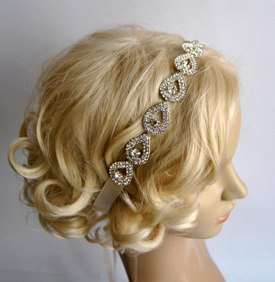 Свадьба - Glamor Crystal Teardrop Rhinestone Tie on Headband headpiece, teardrop Headband, Wedding ribbon headband, Bridal rhinestone head piece, prom
