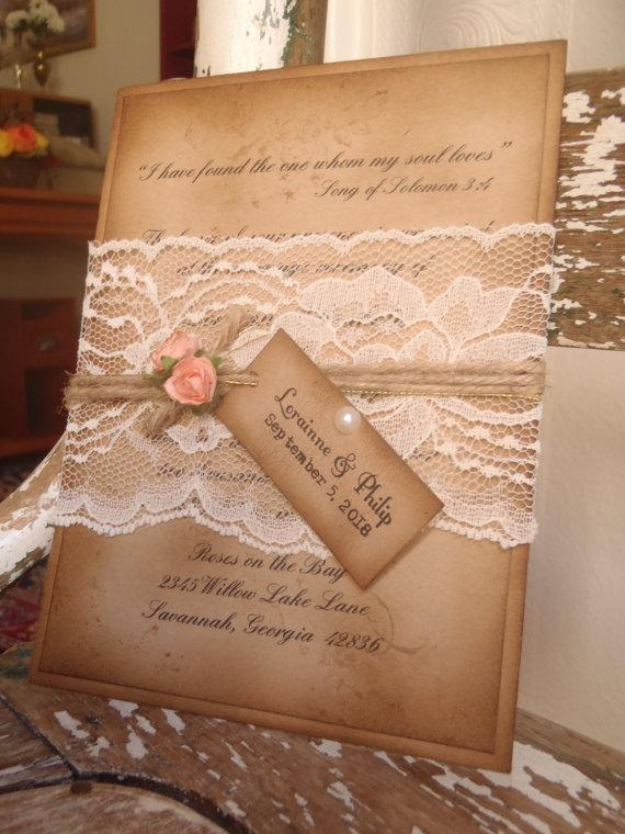 Wedding - Vintage Coral, Rustic, Lace, Kraft, Boho, Woodland, Wedding Invitation Shabby, Romantic, Sixteen Quinceanera, Bat Mitzvah, Peach, Blush Pink