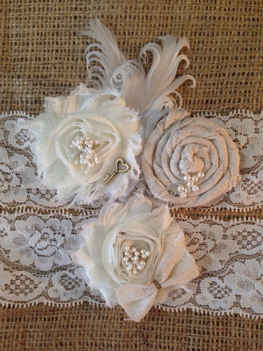 Свадьба - Rustic Garter -  Burlap Garter - Ivory Garter - Rustic Wedding