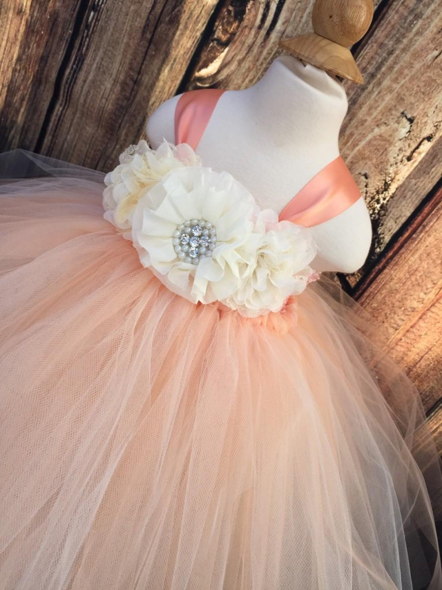 Hochzeit - Peach and ivory girls tulle dress, peach and ivory flower girl dress, peach and ivory wedding, girls tulle tutu dress