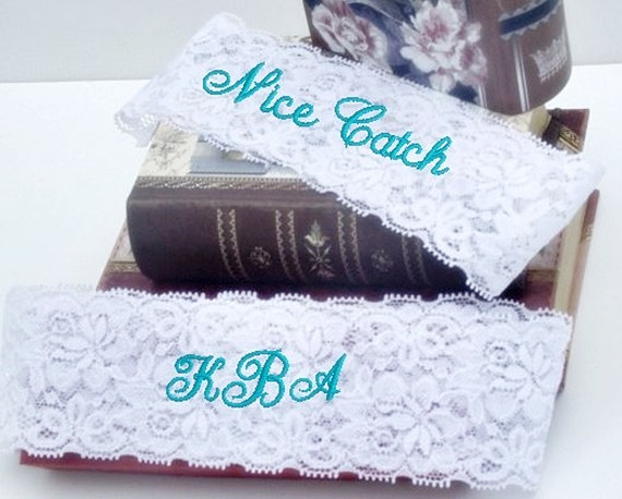 Wedding - Bride's Garter, Wedding Garter Personalized, Custom, Embroidered Monogram Lace Garter