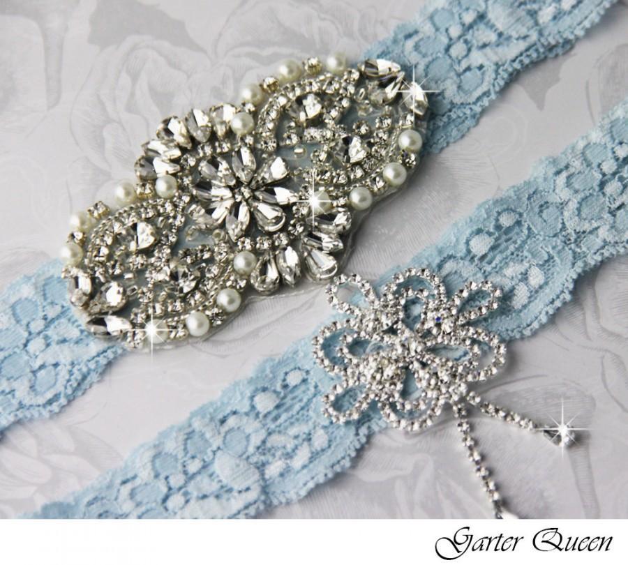 Blue Wedding Garter Set. Blue Lace Garter Set, Lace Wedding Garter ...