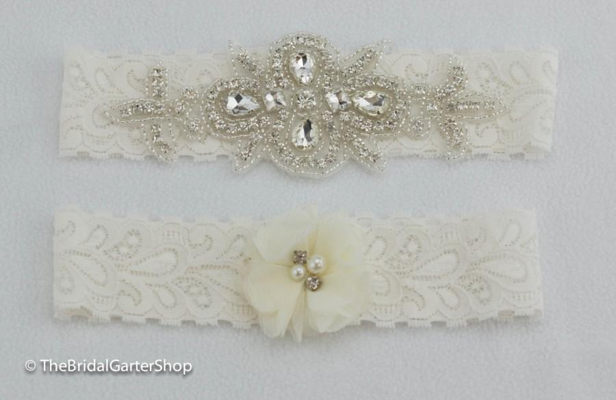 Mariage - White wedding garter, ivory wedding garter, lace bridal garter, stretch lace wedding garter