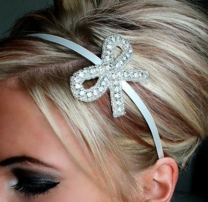 Mariage - Always A Bridesmaid Headband, bridal headband, wedding, Flower Girl, Bridesmaid, rhinestone headband, accessories