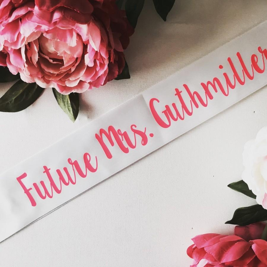 Свадьба - Bride to be sash- bride sash- bachelorette party sash Future Mrs. Sash 3