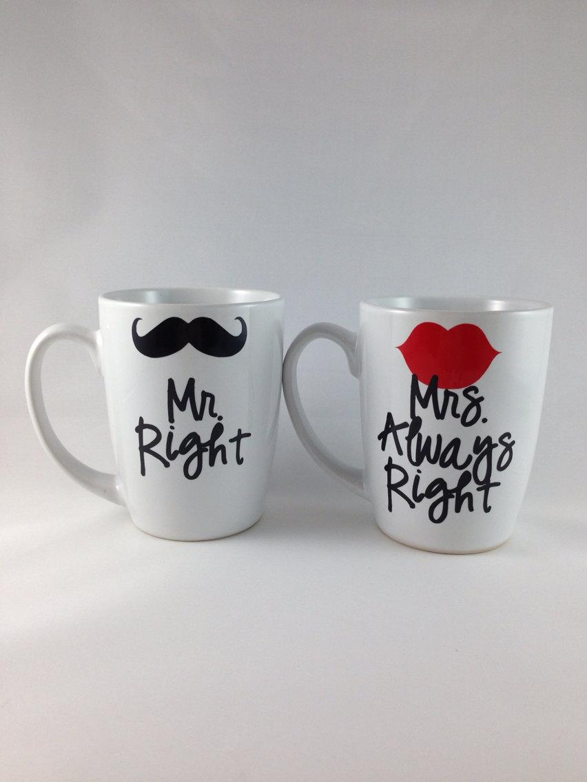 mr right mrs always right coffee mug set bridegroom wedding engagement gift bridal shower gift wedding keepsake memento bride to be