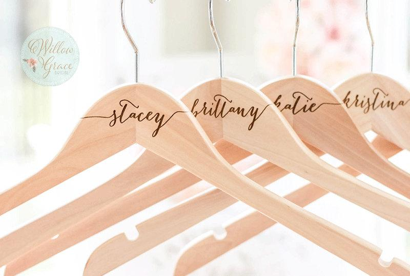Mariage - Personalized Bridesmaid Hangers, Engraved Wood Hangers