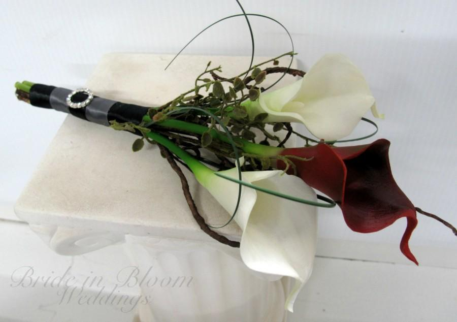 Свадьба - Bridal bouquet real touch red white calla lily black charcoal gray