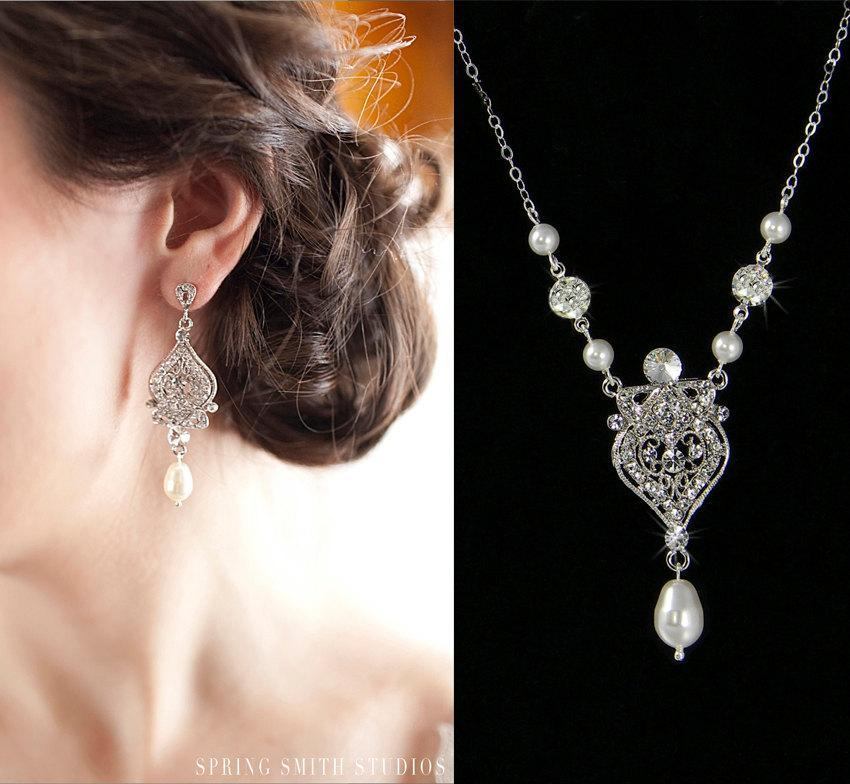 Bridal Jewelry SET Pearl Wedding Necklace Bridal Earrings Swarovski