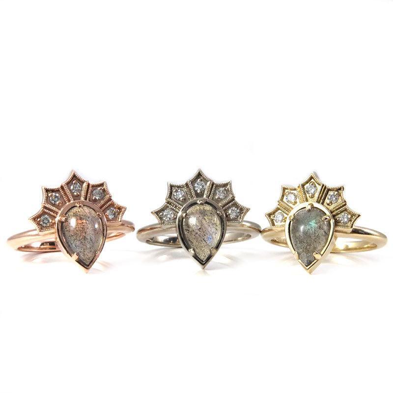 Mariage - Labradorite Pear Gothic Crown Engagement Ring with Diamond Fan - 14k Rose, Yellow or Palladium White Gold - Modern Fine Jewelry