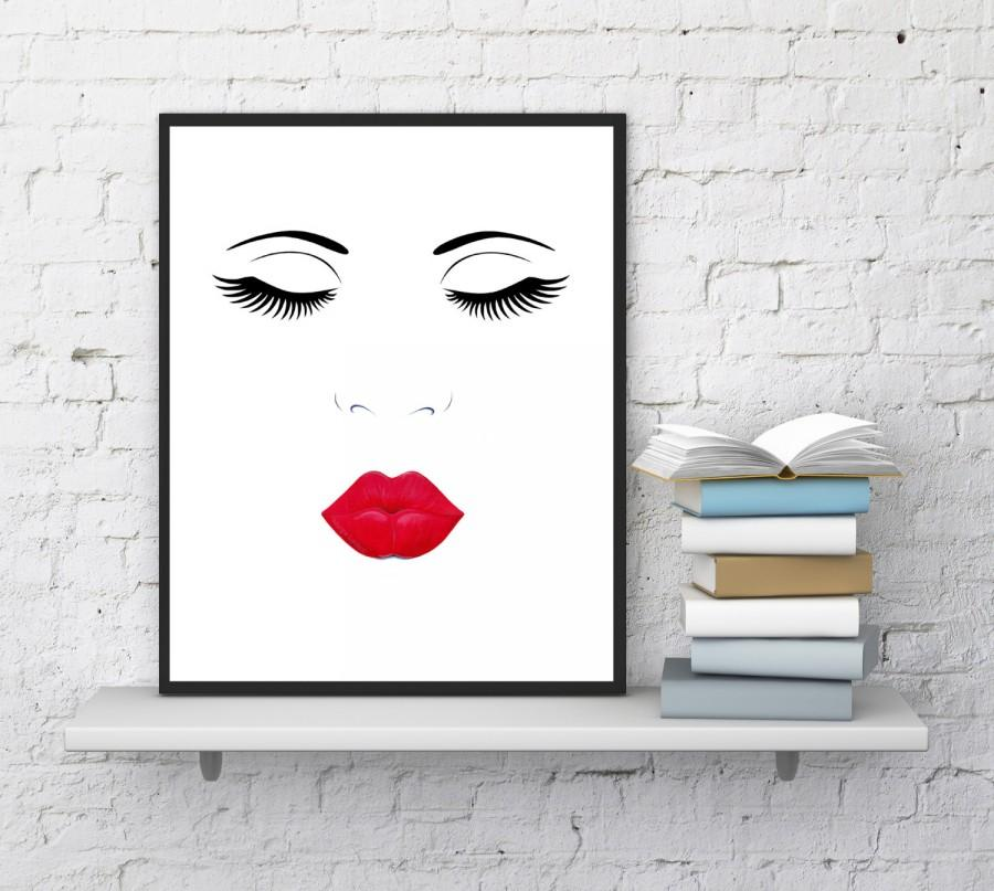 Face print lips and lashes makeup digital printable for Minimalist wall decor
