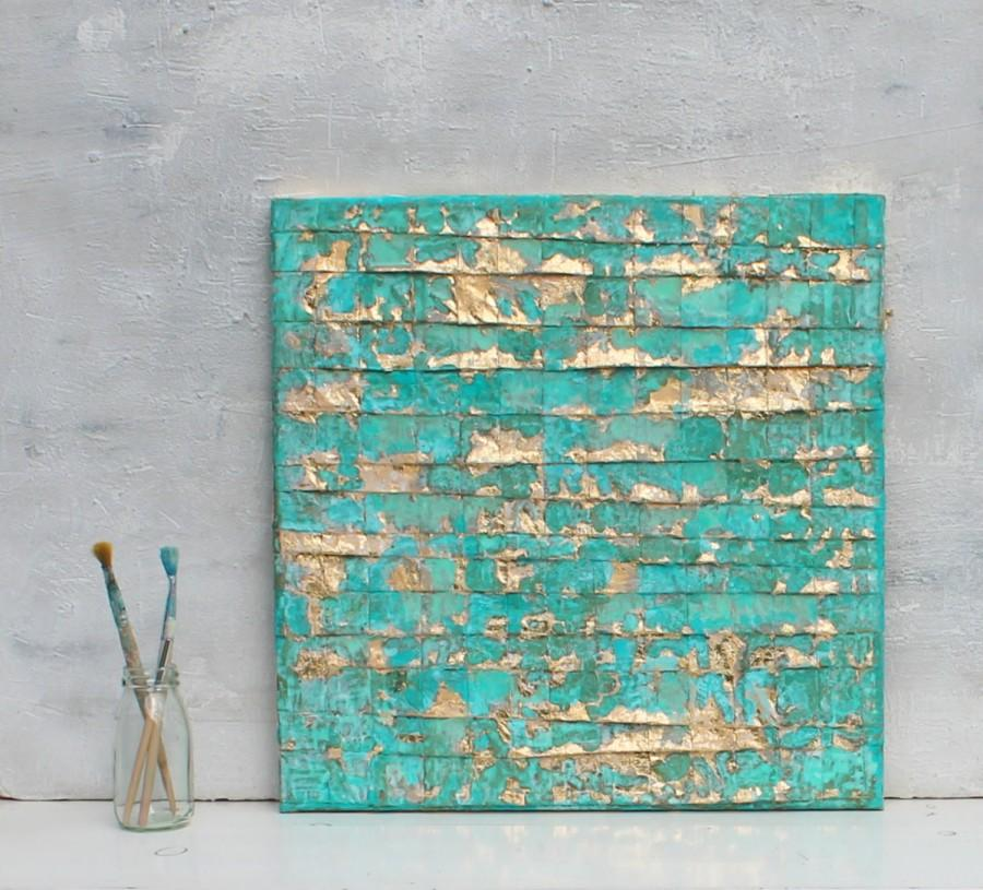Abstract painting turquoise gold art gold leaf for Gold wall art