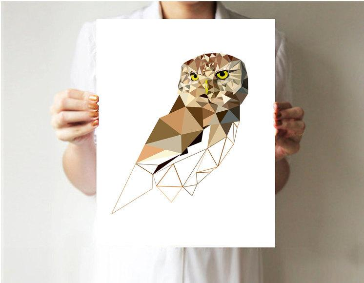 Geometric Wall Art geometric art print, owl art print, geometric wall decor