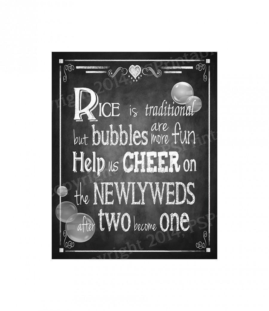 bubble send off chalkboard style printable diy wedding sign