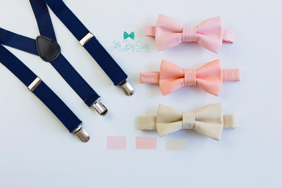 Mariage - Navy Suspenders Nude Blush or Peach Bow Tie..Kids and Adult Bow Tie Suspenders bearers outfits..Baby Boy Bow Tie..Weddings