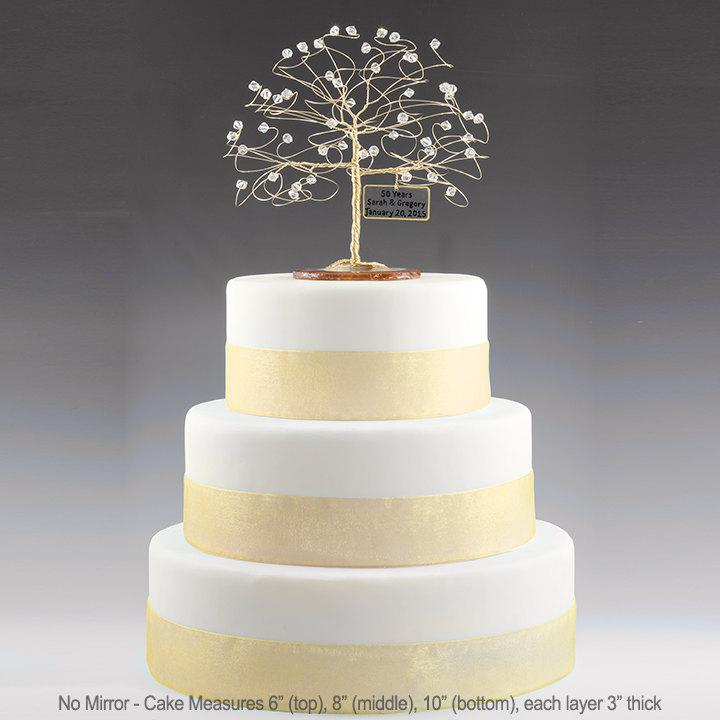 Personalized Wedding Anniversary Cake Topper Tree Gift Idea Custom