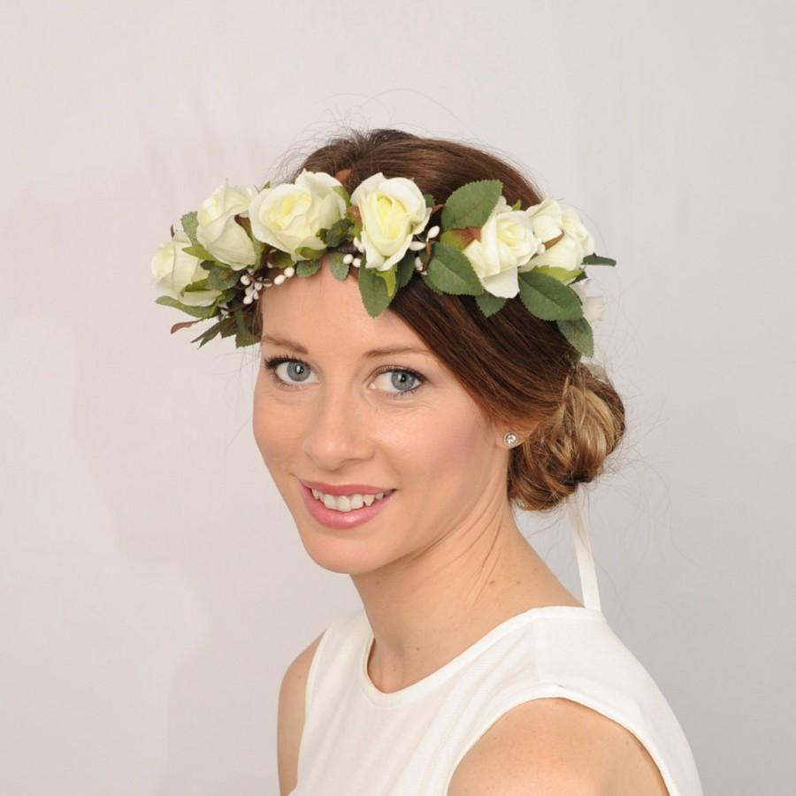 Ivory floral bridal crown flower crown rose wedding crown wedding ivory floral bridal crown flower crown rose wedding crown wedding flower crown rustic headband flower head wreath bridal hair piece izmirmasajfo Choice Image