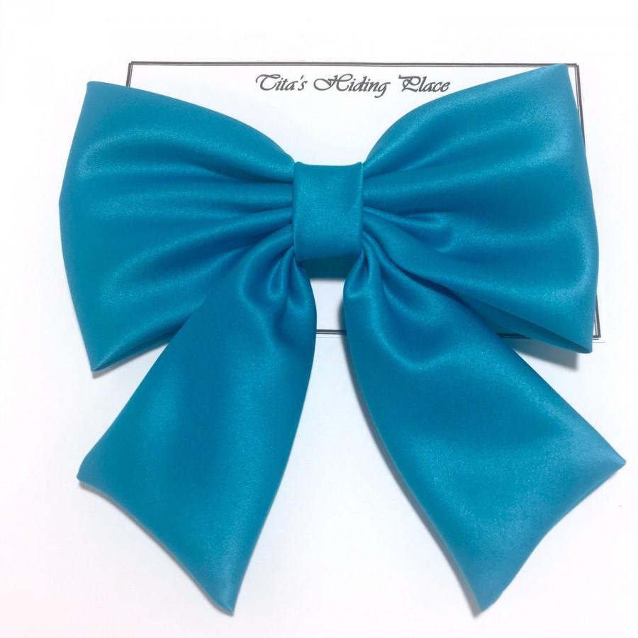 زفاف - Blue Jewel Hair Bow, Blue Hair Bows, Prom Hair Bow, Big Blue Bow, Retro Hair Bow, Blue Kawaii Hair Bow, Wedding Bow, Pew Blue Satin Bow, 038
