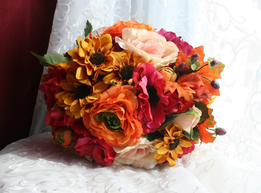 Autumn bridal bouquet boutonniere set rustic summer for Fall wedding bouquets for sale