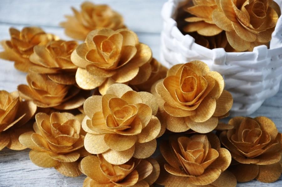 Mariage - 150  Pcs Gold Birch Wood Roses for Weddings, Home Decorations, Scrapbooking and Floral Arrangements