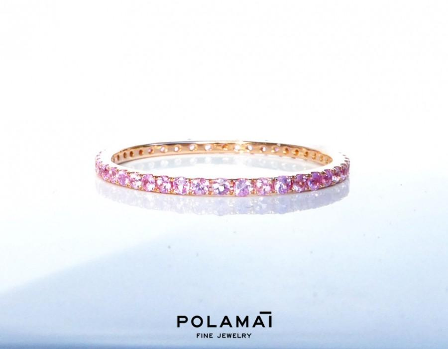 Light Pink Sapphire Eternity Ring Solid 18k Gold Stacking Wedding Band Yellow White Rose Polamai