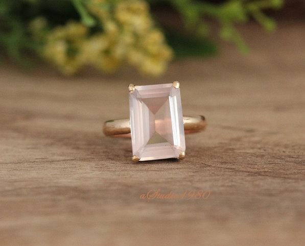 Mariage - Engagement ring - Gold Rose quartz ring - 18k gold prong set ring - handmade Gemstone ring - pink ring- valentine gift ideas-