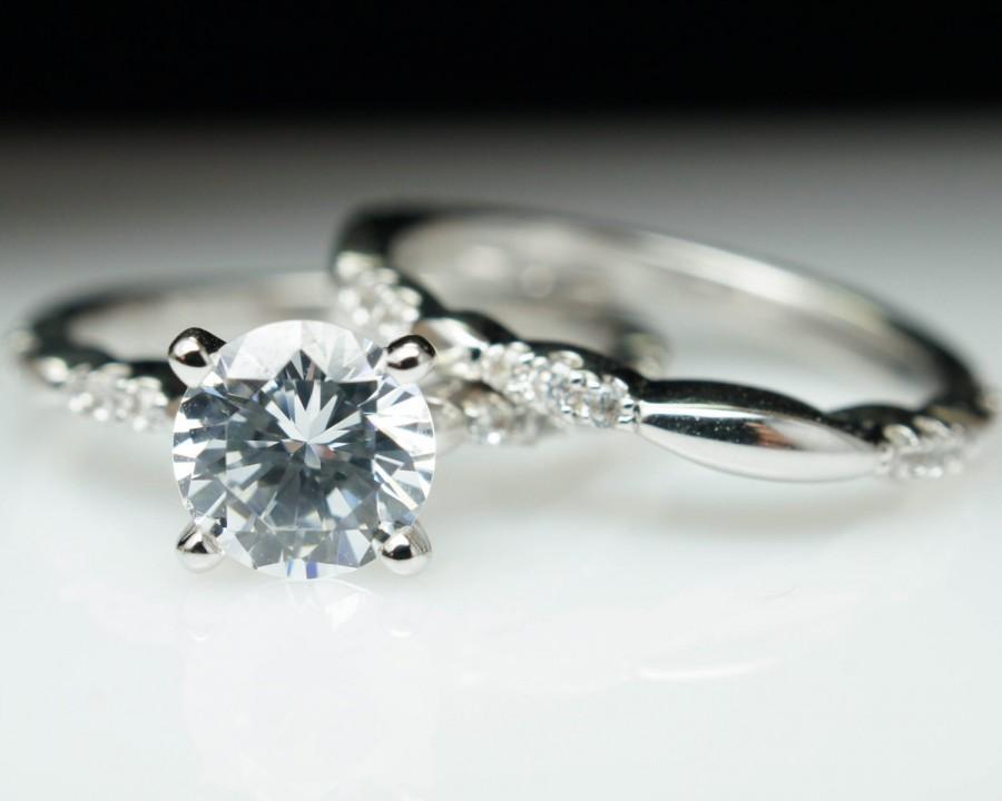 Petite Vintage Style Solitaire Diamond Engagement Ring Wedding