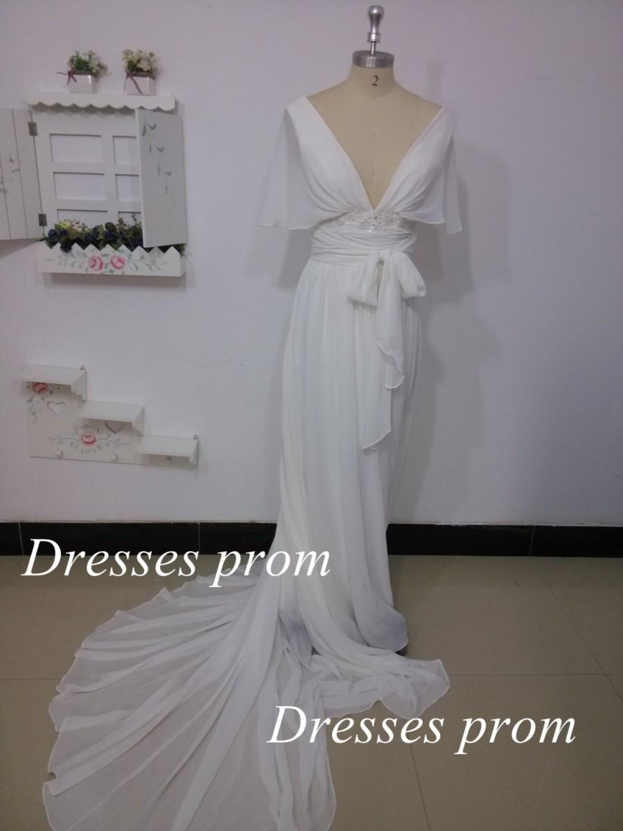 2014 ivory chiffon prom dresses long sexy v neck for Affordable unique wedding dresses