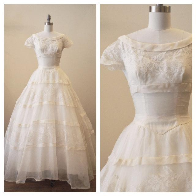 Vintage 1950s Silk Organza Wedding Dress With Lace Applique Detail
