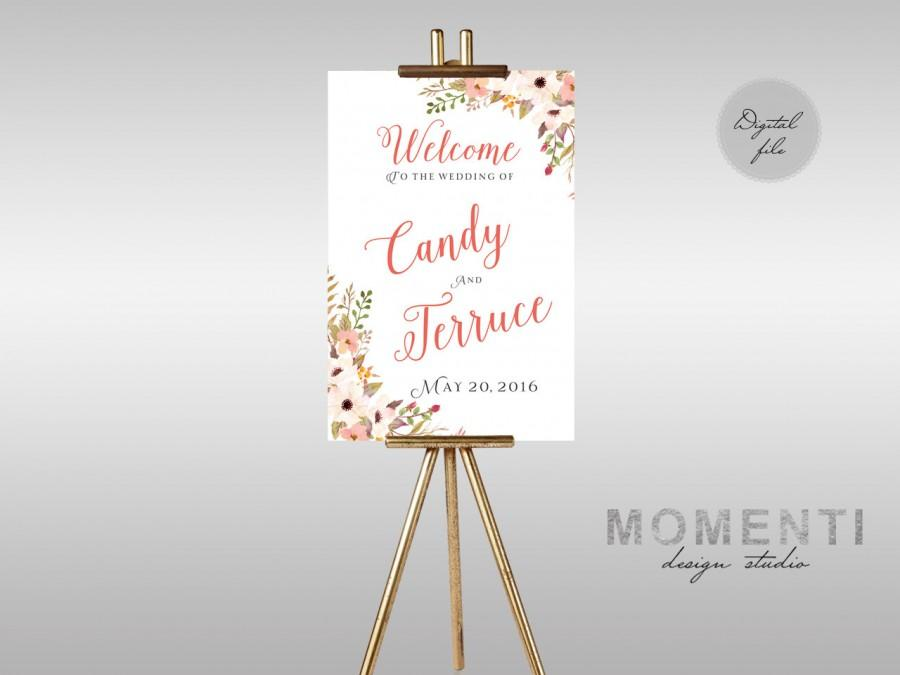 Hochzeit - Printable Wedding Welcome sign, Coral wedding sign printable, Boho Reception sign printable, The Emily collection