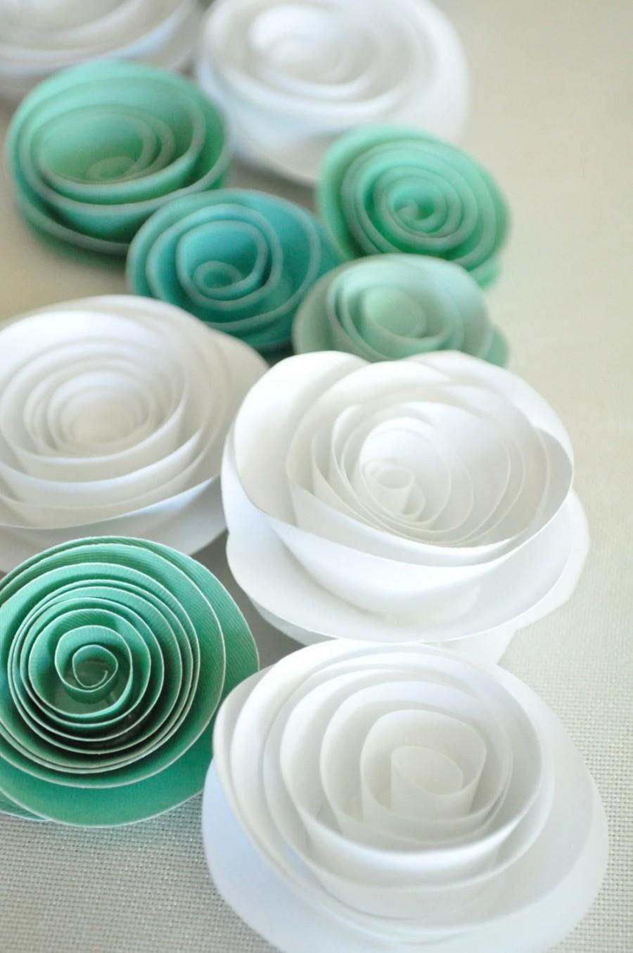 Hochzeit - Paper Flowers Teal and White Paper Flowers Wedding Table Decorations 25 flowers