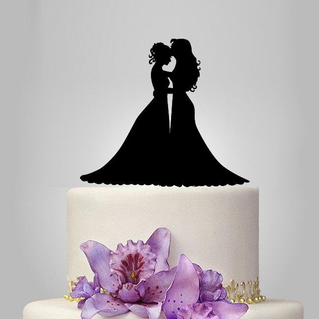 Hochzeit - Lesbian wedding cake topper, same sex cake topper, mrs and mrs wedding cake topper , lesbian silhouette, bride and bride rustic cake topper