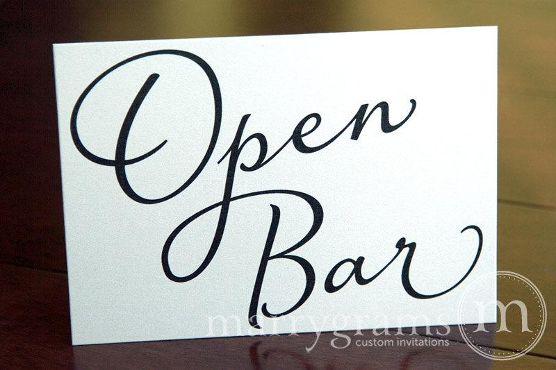 Mariage - Wedding Drinks - Open Bar Sign - Hosted Bar Sign - Wedding Table Reception Seating Signage - Matching Numbers Available SS03