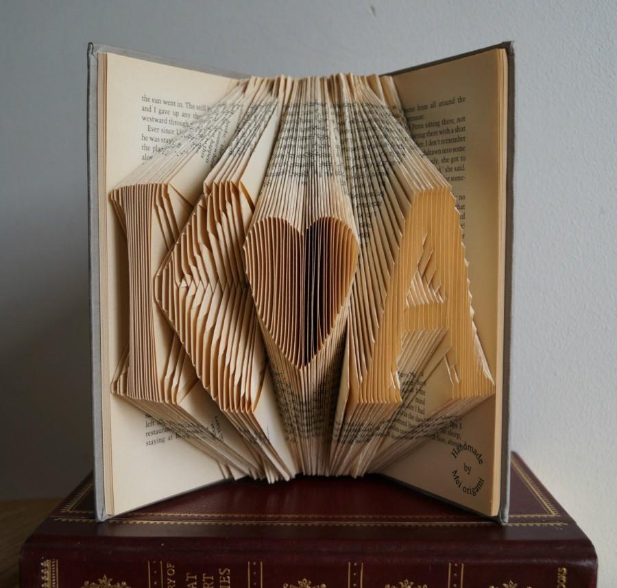 First Wedding Anniversary Gift Initial Folded Book Art Wedding Decor