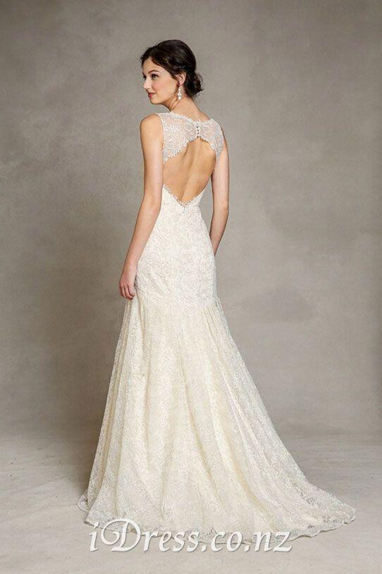 Wedding - Illusion V-neck Keyhole Back Sleeveless Elegant Lace Wedding Dress