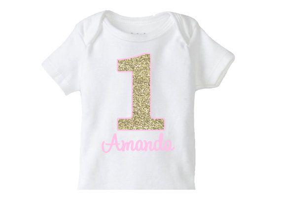 زفاف - Gold Pink Number Birthday Shirt , Girls 1st Birthday Shirt Or Bodysuit