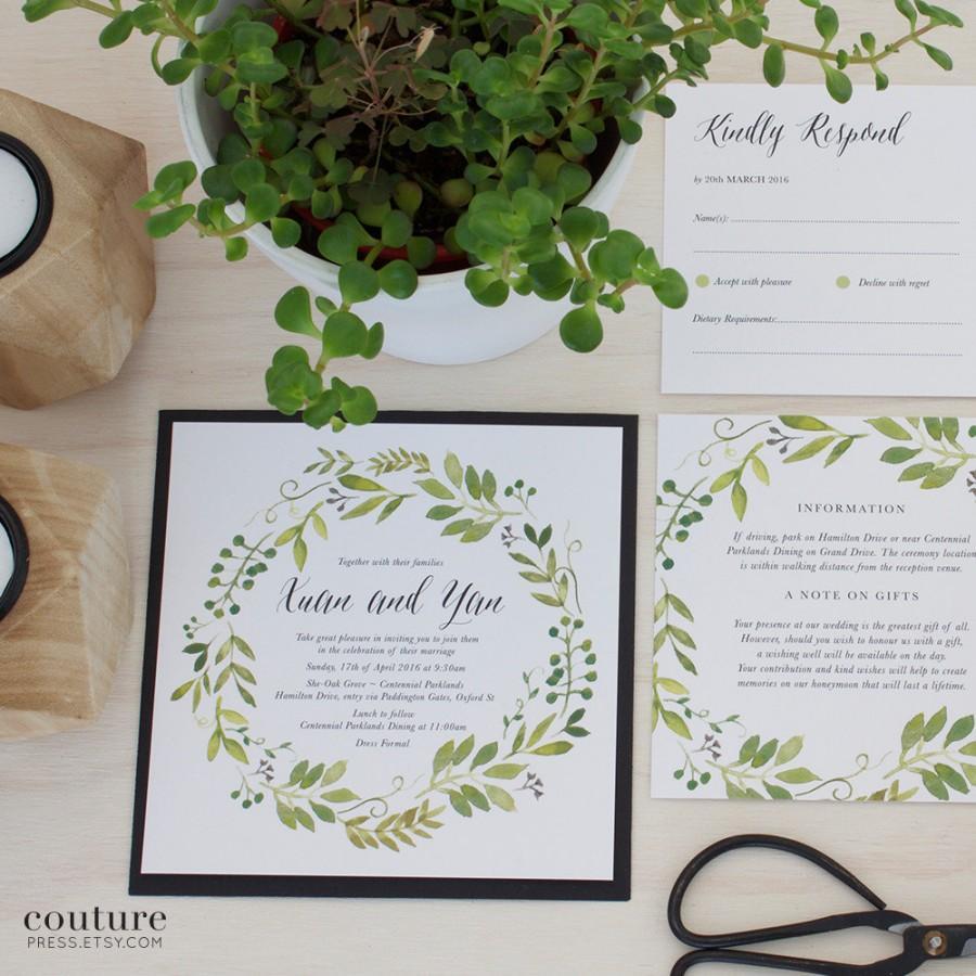 Printable Wedding Invitation, DIY Printable, Watercolour Spring ...