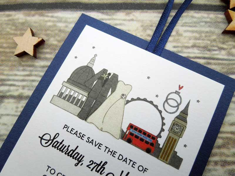 Wedding - Personalised London themed Wedding save the date cards with a Bride and Groom