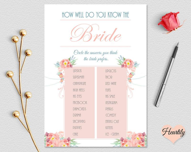 bridal shower game how well do you know the bride floral theme 5x7 instant digital download