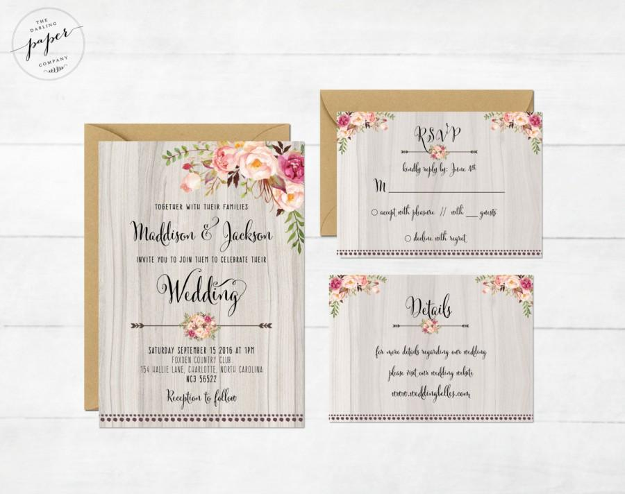 Wedding - Floral Wedding Invitation Printable Wedding Invitation Set Rustic Wedding Invite Boho Wedding Invite Peonies Wedding Invite Floral Boho Set