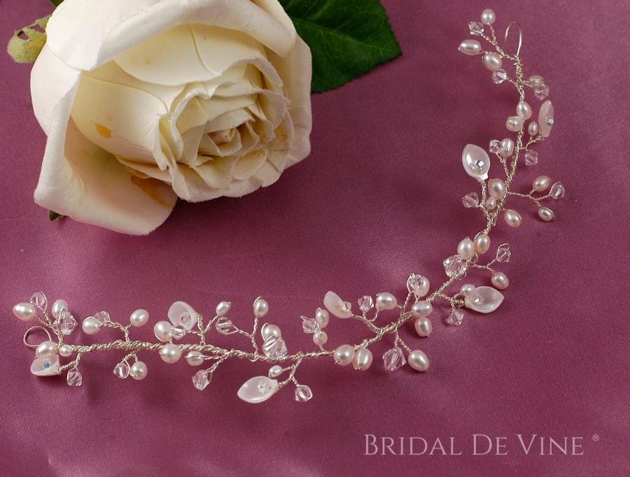 Mariage - OOAK Delicate Bridal Hair Vine MoP Shell - Boho with CRYSTALLIZED™ -   Flowers & Pearls UK Seller