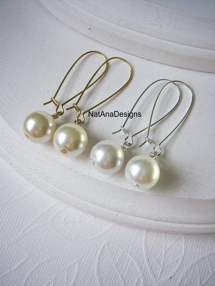Mariage - One Pearl Dangle Earrings/White Pearl Earrings/Ivory Pearl Earrings/Long Dangle One Pearl Earrings/Birthstone Jewelry/Birthstone Earrings