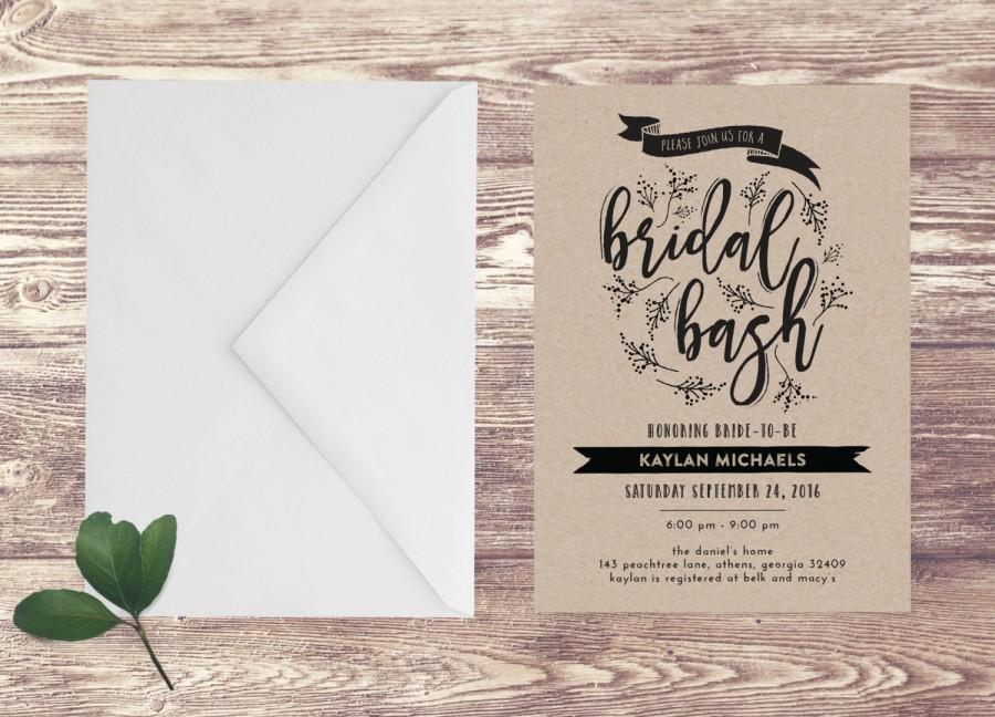 Printed bridal shower invitation with kraft paper bridal bash printed bridal shower invitation with kraft paper bridal bash invitation bridal shower bash engagement party invite wedding shower filmwisefo Image collections