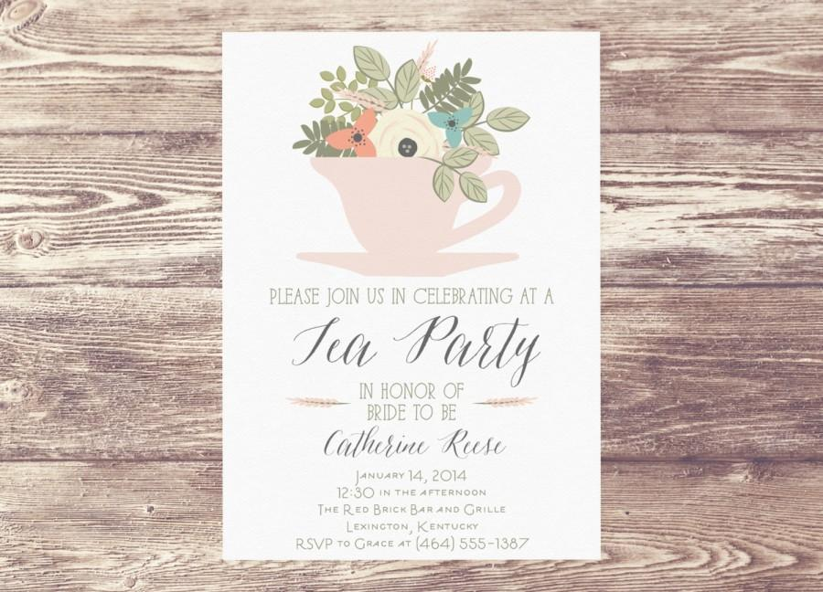 printed bridal shower tea party invitation custom personalized engagement party invite wedding shower baby shower tea party invitation