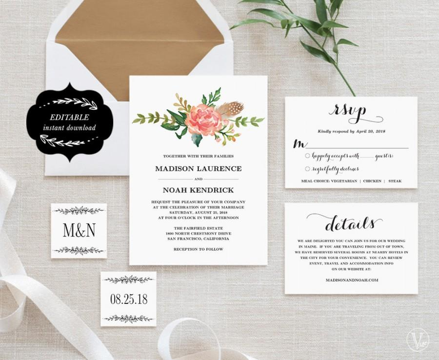 wedding invitations printable floral wedding invitation template