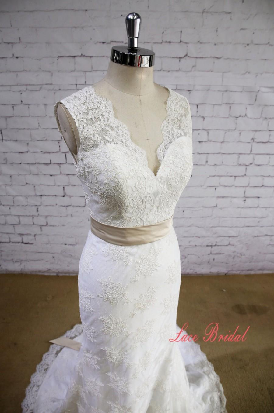 Wedding - Lace Applique Skirt Wedding Dress Mermaid Bridal Gown V-neck Wedding Gown with Train Ivory Color Wedding Gown Elegant Style Wedding Dress