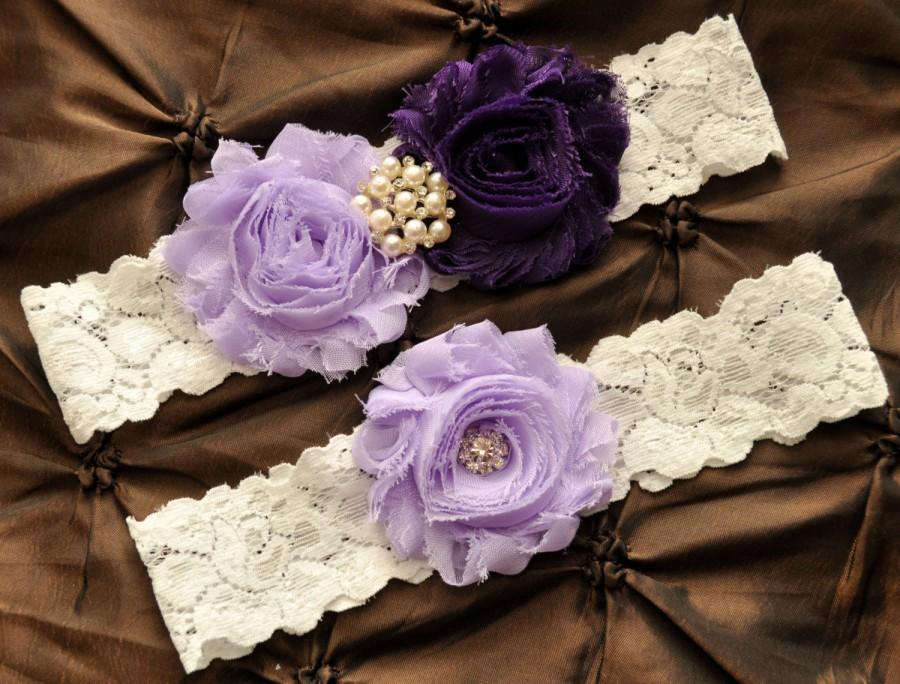 Mariage - Wedding Garter, Bridal Garter Set - White Lace Garter, Keepsake Garter, Toss Garter, Shabby Chiffon Lavender Purple Wedding Garter Set