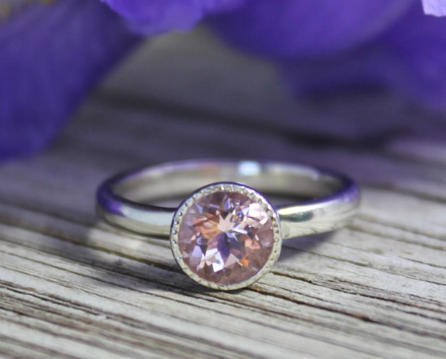 Hochzeit - 14k White Gold Morganite Ring // Round Bezel Halo Gemstone Ring // Alternative Engagement Ring // Eco-Friendly // Ready to Ship Size 7